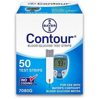 Bayer Ascensia Contour Test Strips 50 Count - 7080G - Retail Box - Affordable OTC