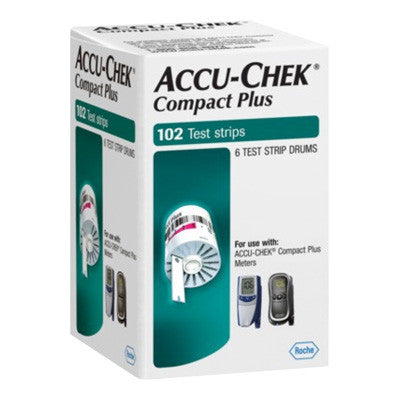 Accu Chek Compact Plus 102 Test Strips - Retail Box - Affordable OTC