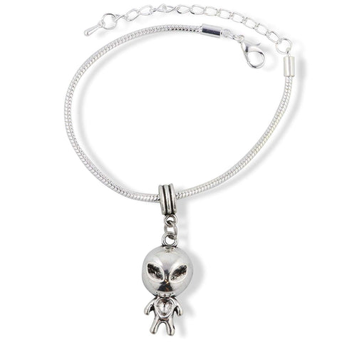 Alien with Big Head and Small Body Snake Chain Charm Bracelet