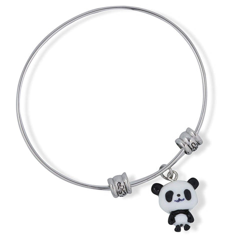Emerald Park Jewelry Black and White Small Panda Full Body Fancy Charm Bangle