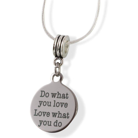 """ Do What You Love Love What you Do "" Snake Chain Necklace"