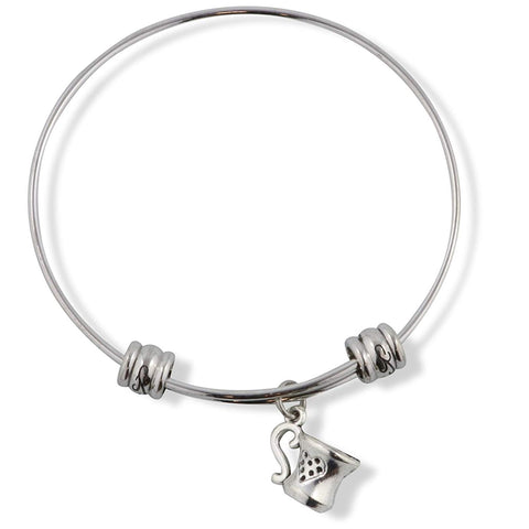 Coffee Cup with Heart on the Side Fancy Charm Bangle