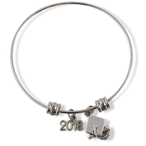2018 Grad Graduation Cap Fancy Charm Bangle