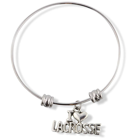I Love Lacrosse Fancy Charm Bangle