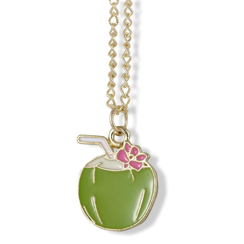 Emerald Park Jewelry Exotic Drink in Coconut with Straw and Flower Charm Chain Necklace
