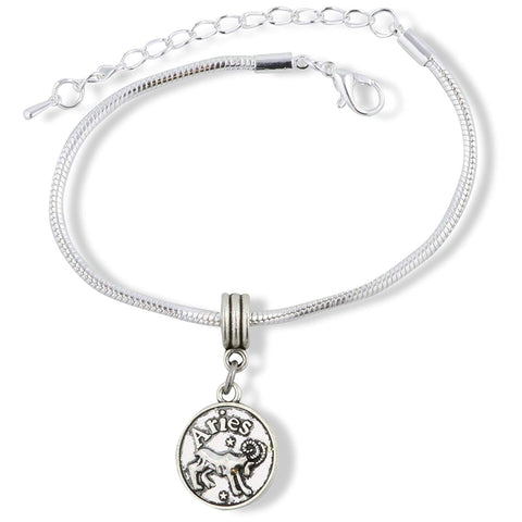 Aries Astrology Sign Snake Chain Charm Bracelet