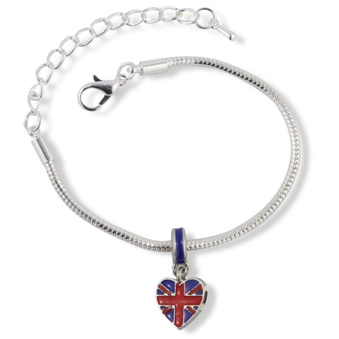 Emerald Park Jewelry British Flag on a Heart (Large) Snake Chain Charm Bracelet