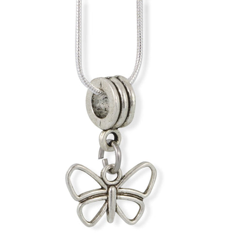 Butterfly ( Outline ) Charm Snake Chain Necklace