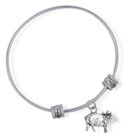 Emerald Park Jewelry Pig with Ribbon Fancy Charm Bangle