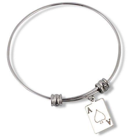 Ace Playing Poker Card Fancy Charm Bangle