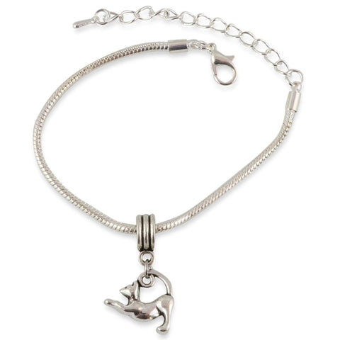 Stretching Cat Snake Chain Charm Bracelet