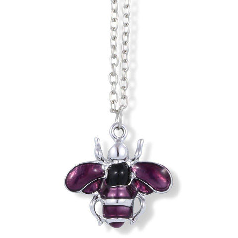 Bee Insect Purple Enamel with Silver Stripes on Silver Chain Necklace