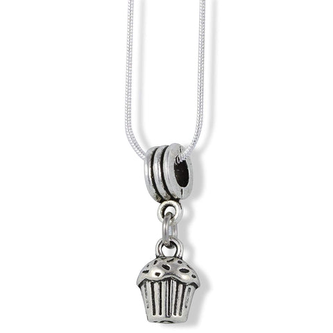 Emerald Park Jewelry Cupcake 3D Charm Snake Chain Necklace
