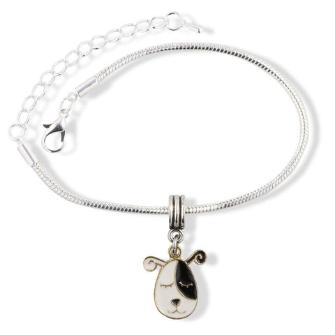 Dog Head Black and White with Twirley Ears Snake Chain Charm Bracelet