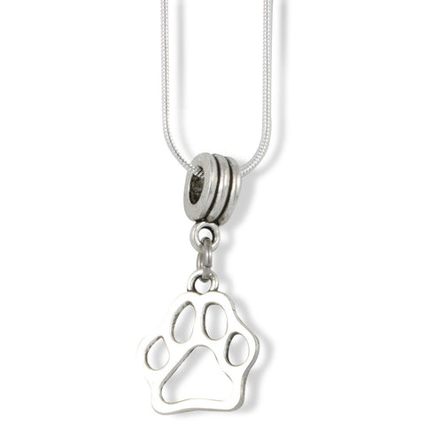Dog Paw Print Charm Snake Chain Necklace