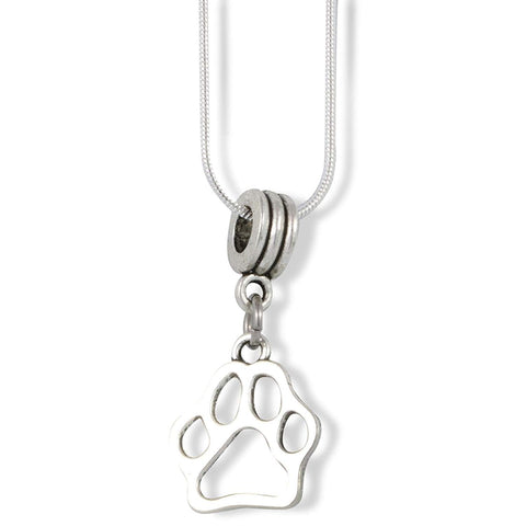 Dog Paw Outline Charm Snake Chain Necklace