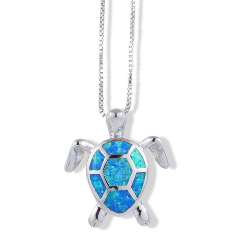 EPJ Turtle Silver with Vibrant Blue and Silver Coloured Shell on Box Chain Silver Necklace