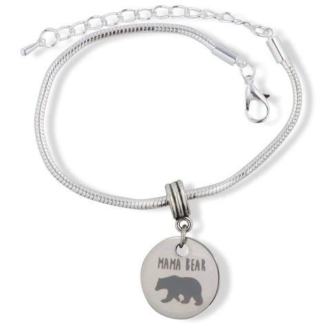 Emerald Park Jewelry Mama Mother Bear Snake Chain Charm Bracelet