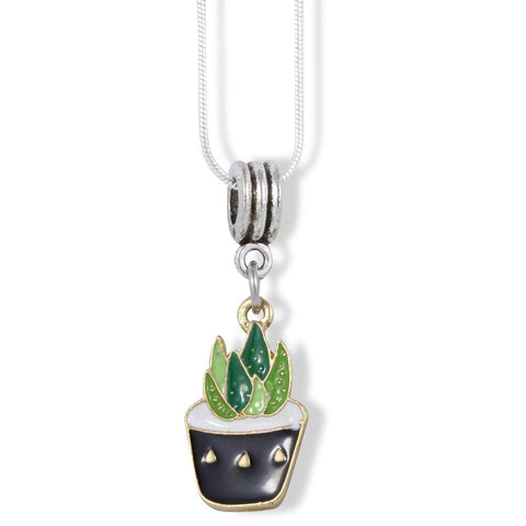 Emerald Park Jewelry Aloe Vera Two Tone Green in Black Pot Charm Snake Chain Necklace
