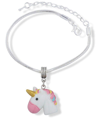 3D White Head Unicorn with Pink Nose Gold Horn Multi Colour Mane Snake Chain Charm Bracelet