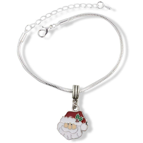 Santa Head Bust with Red and White Hat Snake Chain Charm Bracelet