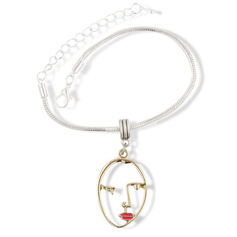 EPJ Face Outline Gold Red Lips Bracelet