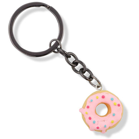 Donut Yellow with Pink Icing Charm Keychain