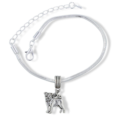 Pug French Bulldog Dog Snake Chain Charm Bracelet