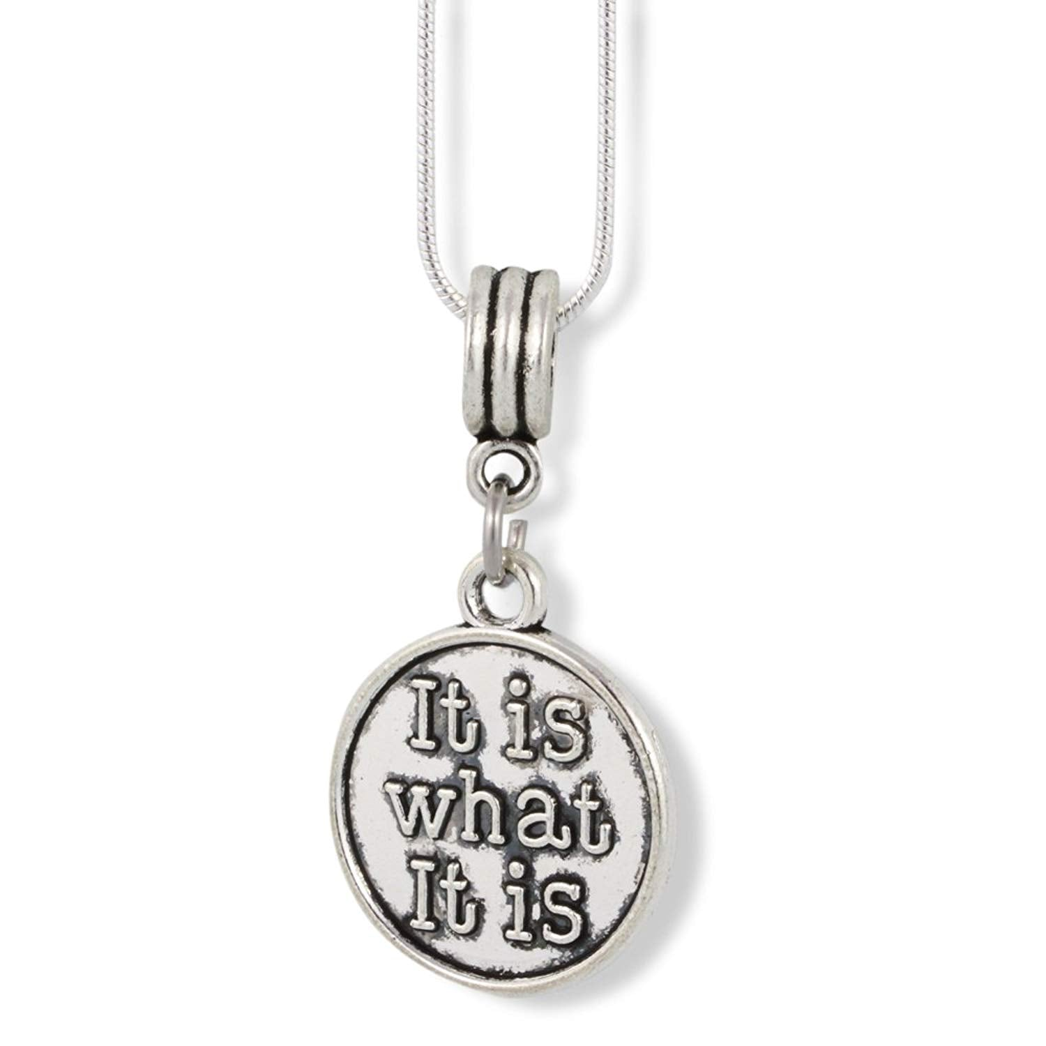 it is what it is charm snake chain necklace