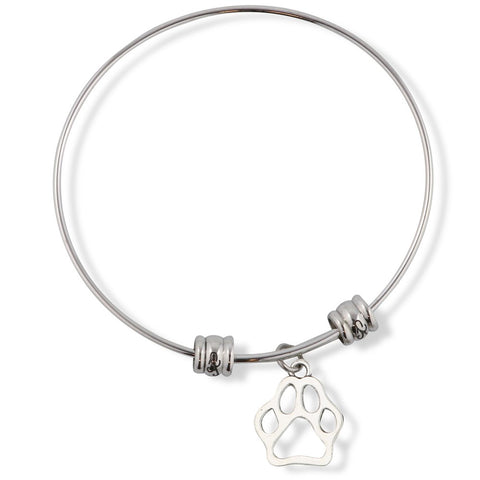 Dog Paw Outline Fancy Charm Bangle