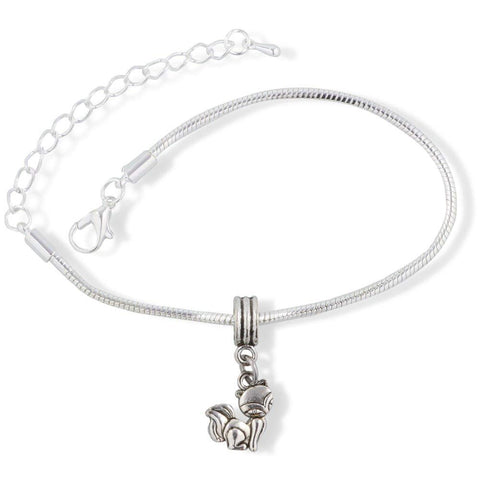 Cat with Squinty Eyes Snake Chain Charm Bracelet