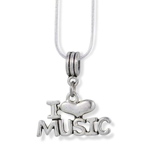 I Love Heart Music Charm Snake Chain Necklace