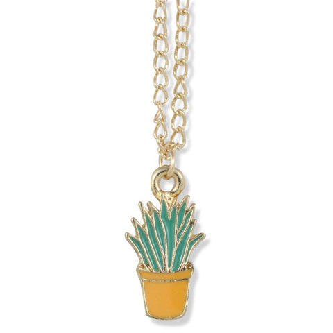 Emerald Park Jewelry Aloe Vera Cactus Green in Tan Pot on Gold Chain Necklace