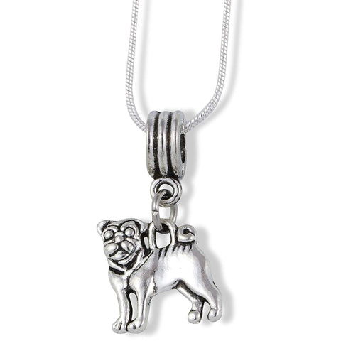 Emerald Park Jewelry Pug French Bulldog Charm Snake Chain Necklace