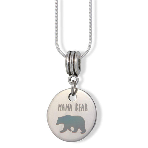 Emerald Park Jewelry Mama Mother Bear Charm Snake Chain Necklace