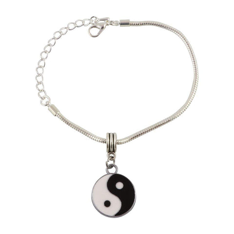 Yin and Yang Black and White Snake Chain Charm Bracelet