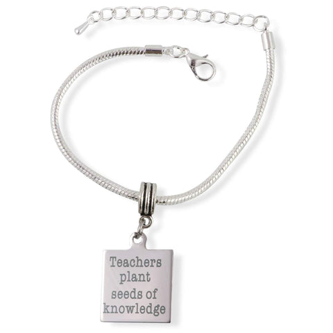 Teachers Plant Seeds of Knowledge Snake Chain Charm Bracelet