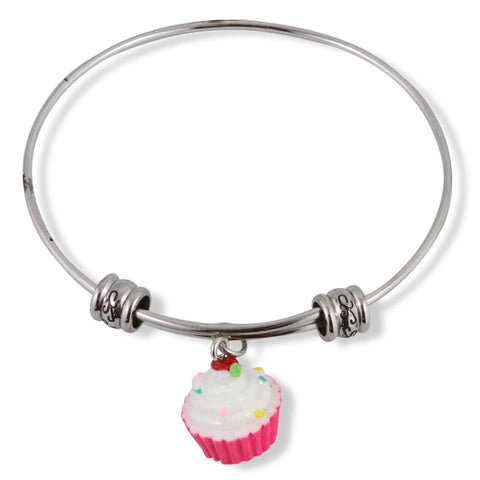Cupcake (White and Pink Enamel) Fancy Bangle