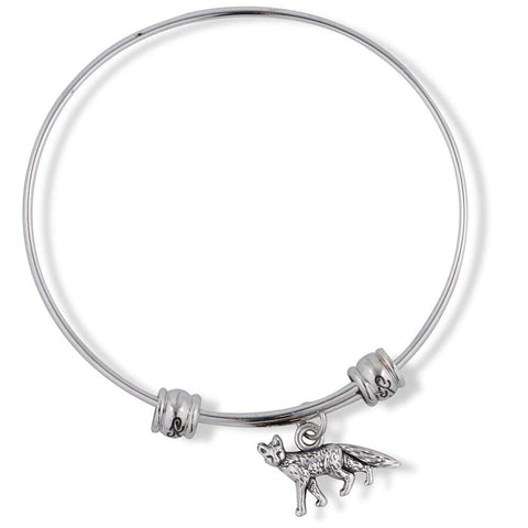 Emerald Park Jewelry Fox Small One Sided Fancy Charm Bangle