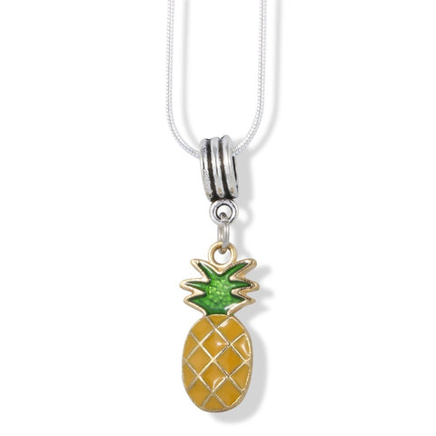 EPJ Pineapple Yellow with Green Stem on Gold Colored Charm Charm Snake Chain Necklace