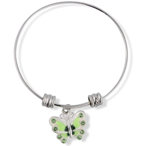 Butterfly with Coloured Enamel Fancy Charm Bangle