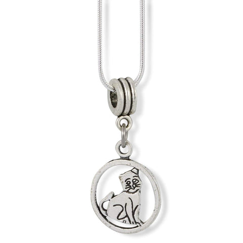 Cat Sitting within a Circle Charm Snake Chain Necklace