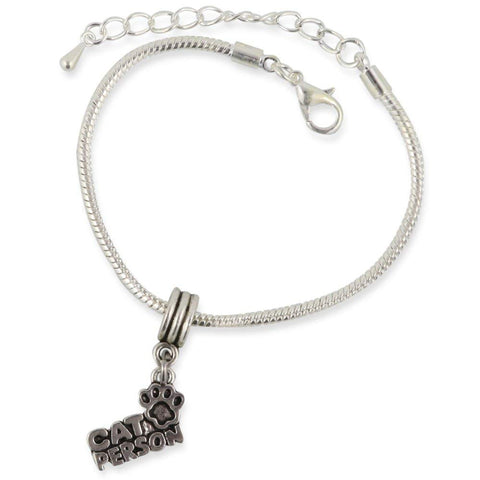 Cat Owner Person Snake Chain Charm Bracelet
