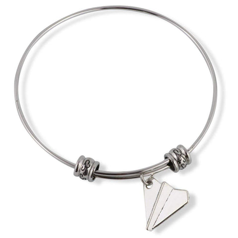 Paper Airplane Fancy Charm Bangle