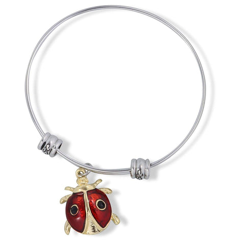 Emerald Park Jewelry Red and Gold Ladybug with Two Black Dots on Back Fancy Charm Bangle