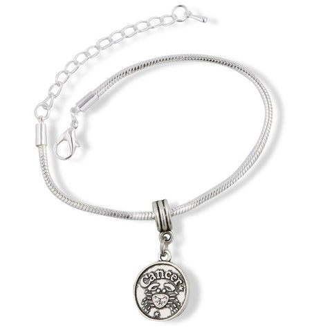 Cancer Astrology Sign Snake Chain Charm Bracelet