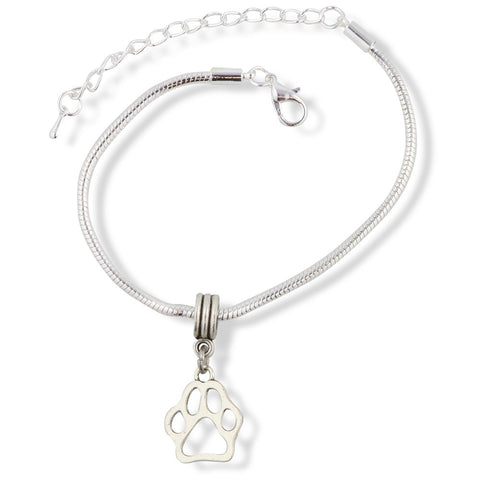 Dog Paw Outline Snake Chain Charm Bracelet