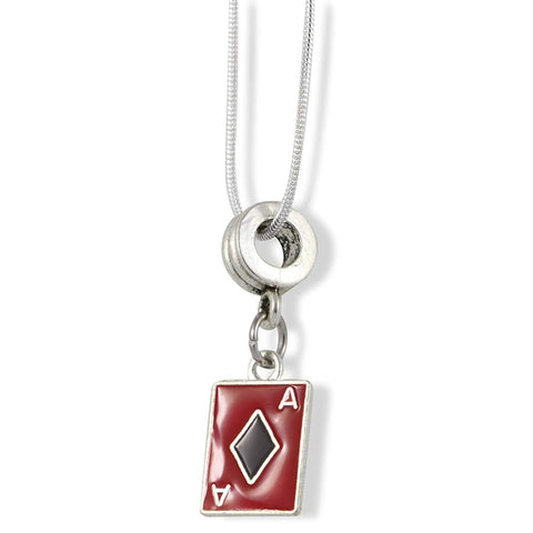 Ace Playing Card Red and Black Charm Snake Chain Necklace Jewelry
