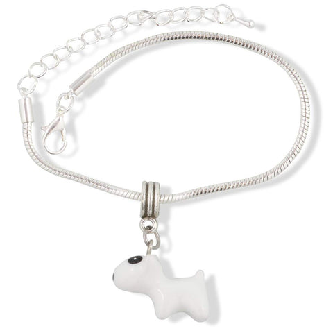 Small White Dog with Black Patch Dot on Eye Bracelet