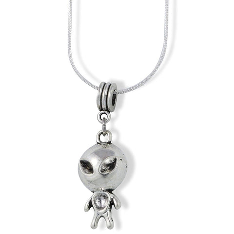 Alien with Big Head and Small Body Charm Snake Chain Necklace